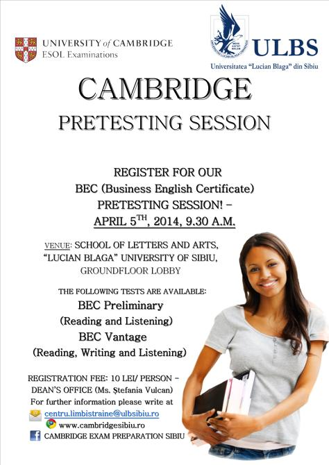 Cambridge Pretesting Session poster 2